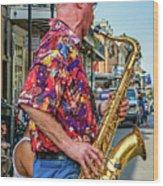 New Orleans Jazz Sax  Wood Print