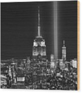 New York City Tribute In Lights Empire State Building Manhattan At Night Nyc Wood Print