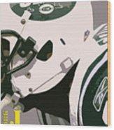 New York Jets Football Team And Original Typography Wood Print