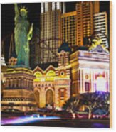 New York New York Casino Wood Print
