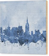 New York Skyline-blue Wood Print