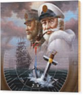 News Two Map Captain Or Two Sea Captain Wood Print
