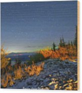 Northern Lights At Mount Pilchuck Wood Print
