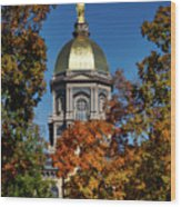 Notre Dame's Golden Dome Wood Print