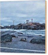 Nubble Light Lighthouse Wood Print