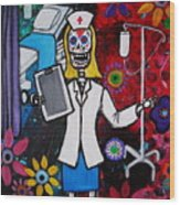 Nurse Dia De Los Muertos Wood Print