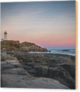 Ocean Lighthouse At Sunset Wood Print