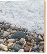 Ocean Stones Wood Print by Stelios Kleanthous