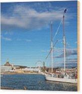 Old Sailing Boats In Helsinki City Harbor Port Finland Wood Print