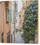 Old Street In Villefranche-sur-mer Wood Print