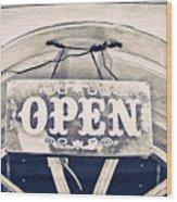 Open Sign Wood Print