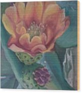 Orange Cactus Blossom Wood Print