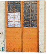 Orange Door Wood Print
