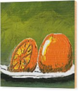 2 Oranges On A White Plate Wood Print