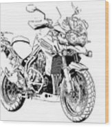 Original Motorcycle Portrait, Gift For Biker, Black And White Art Wood Print