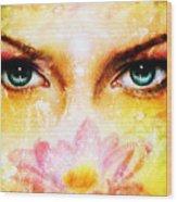 Pair Of Beautiful Blue Women Eyes Beaming Up Enchanting From Behind A Blooming Rose Lotus Flower Wood Print