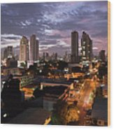 Panama City At Night Wood Print
