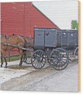 Amish Parking Lot Wood Print
