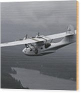 Pby Catalina Vintage Flying Boat Wood Print by Daniel Karlsson