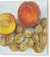 Peaches And Pits Wood Print