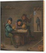 Peasants In A Tavern Wood Print