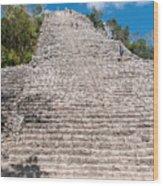 People Climbing Nohoch Mul At The Coba Ruins  Wood Print