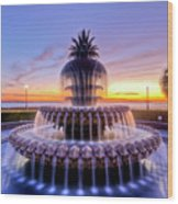 Pineapple Fountain Charleston Sc Sunrise Wood Print by Dustin K Ryan