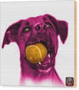 Pink Boxer Mix Dog Art - 8173 - Wb Wood Print