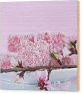 Pink Heart Shape Small Lamington Cakes Wood Print