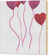 Pink Roses In Heart Shape Balloons  Wood Print by Michael Ledray