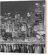Pittsburgh Pennsylvania Skyline At Night Panorama Wood Print