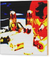 Pop Art Of .45 Cal Bullets Comming Out Of Pill Bottle Wood Print