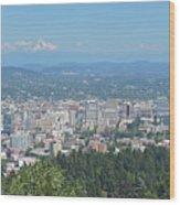 Portland Skyline With Mount Hood Wood Print