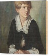 Portrait Of A Seated Child Wood Print