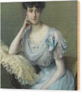 Portrait Of A Young Woman In A Blue Dress Wood Print