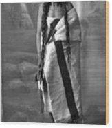 Portrait Of Cree Indian Warrior Wood Print