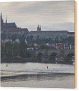 Prague Castle And Charles Bridge Wood Print