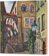 Prague Old Street Wood Print