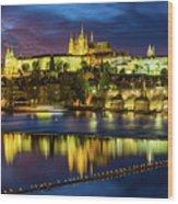 Prague Skyline At Sunset Wood Print