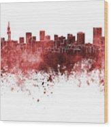 Pretoria Skyline In Watercolor Background Wood Print