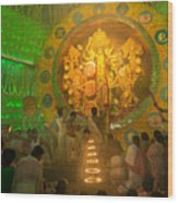 Priest Praying To Goddess Durga Durga Puja Festival Kolkata India Wood Print