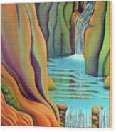 Prosperity Waterfall 2 Wood Print by Barbara Stirrup