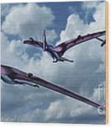 Pterodactyls In Flight Wood Print