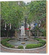 Public Fountain And Gardens In Palma Majorca Spain Wood Print