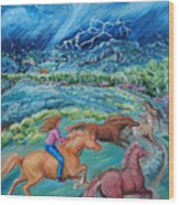 Racing The Lightning Home Wood Print