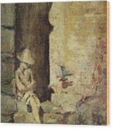 Ragazzo Sulluscio Al Sole Wood Print
