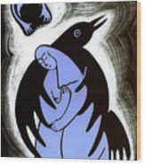 Raven Holds Me When I Weep Wood Print by Angela Treat Lyon