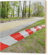 Red And White Barricade Tape Wood Print