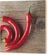 Red Chili Pepper Wood Print