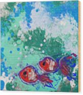 2 Red Fish Wood Print